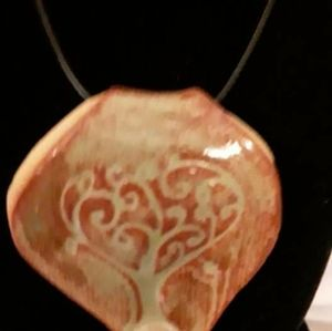 Vintage Tree of Life Large Baked Clay Pendant Neck